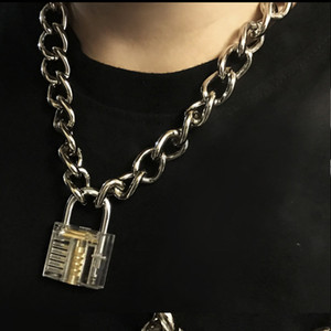 Men Women Unisex Metal Chain Choker Necklace Mechanical Steampunk Transparent Clear Square Lock and Key Choker Collar