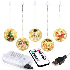 Pendentif XMAS LED Light String 1.6 * 0,65 m Joyeux Fenêtre d'arbre de Noël suspendu Suspension lumières de rideau à pendentif String OWA2126