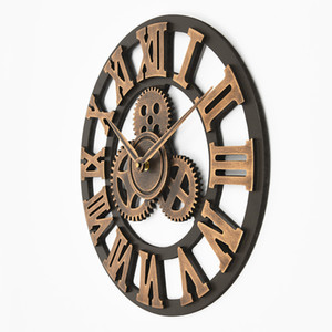 Multiple sizes Handmade Oversized 3D retro rustic decorative luxury art big gear wooden vintage large wall clock on the wall fo