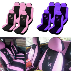 4 مقعد الأغطية / 9PCS / مجموعة السيارات العالمي الفراشة التطريز السيارات-التصميم امرأة أغطية مقاعد السيارات اكسسوارات السيارات الداخلية