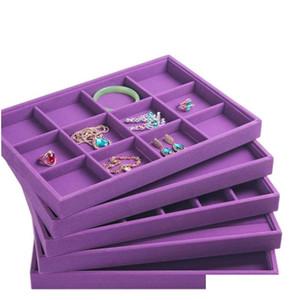Upscale Viola Velvet Jewelry Display TRAY Jewelry Box Anelli Collana Orecchino Braccialetti Braccialetti Vassoio Gioielli Organizzatore 0Fur9