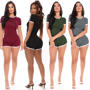 Casual Womens Designer Tracksuits Summer Patchwork Short Sleeve T Shirts and Biker Shorts Fashion Women 2pcs Fitness Sports Sets