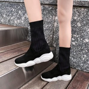CHIMIZHAI Women Shoes 34-46 Heels Boots Elastic Winter Shoes Woman Autumn Knitting Sock Boots Ladies Spring MY31