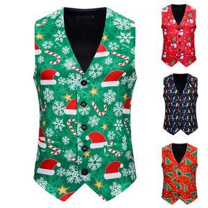 noel yelek Erkekler Moda Ziyafet İş Tank Tops Casual Noel Baskı Yelek Yelek 2020 Erkek Giyim S-XXL Tops