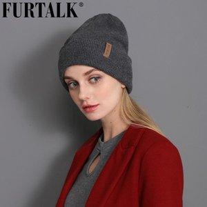 Calentar FURTALK lana mujeres del sombrero del invierno de la guarnición doble ancho sombrero Hombre Mujeres