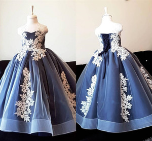 2021 Classic Ivory Applique Flower Girl Dresses For Wedding Ball Gown Spaghetti Lace Straps Lace-up Communion Graduation Party Dress Kids