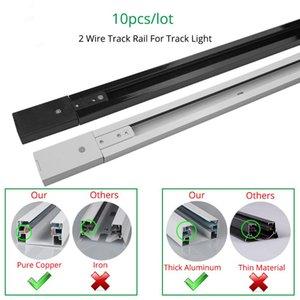 Rail Track 1m luce della pista Fitting Aluminum 1 Metro 2 Sistema di collegamento filo Tracks Fixture Nero Bianco universali Rails 10pcs / Lot