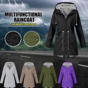 Women's Hooded Jackets Warm Wide Female Jackets Solid Rain Outdoor Waterproof Hooded Raincoat Windbreaker Big Size#J30