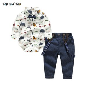 Top and Top Baby Boy Clothing Set Autumn Newborn Gentleman Suit Long Sleeve Bow Shirt+Suspender Pants Kids Cotton Formal Clothes 201022