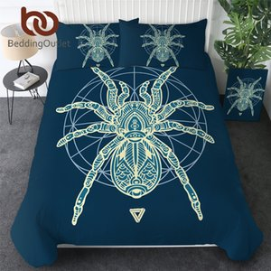 BeddingOutlet Spider Bedding Set Geometry Line Art Bed Cover Sacred Insect Print Quilt Cover Tarantula Blue Bedspreads Queen 3pc Duvet Cover