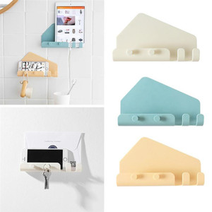 Wall Holders Bathroom For Home Living Shelves Room 4 Mounted Traceless Stand Phone Hooks Charging Sticky With 3pcs bbycnK bdetoys
