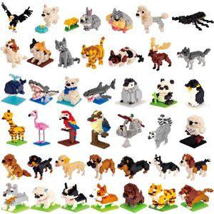 Wisehawk Diamond Mini Building Blocks Animal Toy Bag Bricks Dog Cat Dird Panda Rabbit Series for Children Gifts