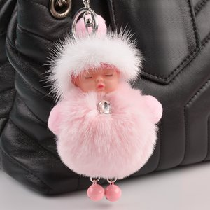 Plush Mink Ball Cute Cartoon Sleeping Baby Doll Keychain Pom Pom Car Keyring Holder Car Charm Pendant Bag Charm Key Chain