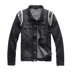 New Men's Male Autumn and Winter High Street Fashion Casual Brand Denim Jacket Mens Black Style Slim Trend Coat