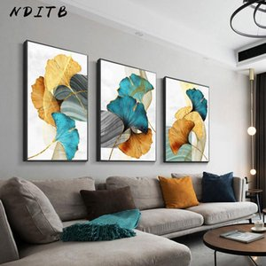 Golden Leaf Modern Abstract Canvas Painting Botanical Poster and Print Nordic Style Creative Picture Home Living Room Decoration