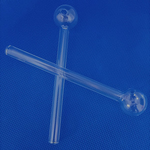 OB006 Clear Glass Oil Burning Water Pipe 120mm 4.7 inch Smoking Burner Thick Nail Hand Tube Bong