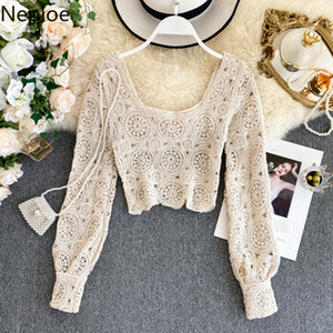 Neploe Chic Square Collar Sexy Hollow Out Knit Sweater Slim Fit Short Long Sleeve Outwear Pull Femme Autumn Spring New Sueter 201017