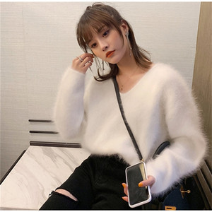 Women ladies Sweaters and pullovers Pure 100% Mink Cashmere Knitted Pullover sweater free shipping JNS002 201006