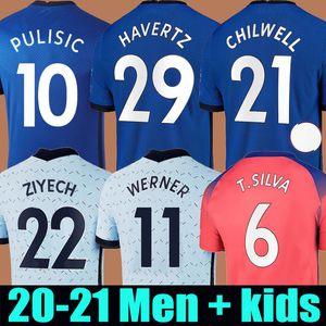 20 21 Chelsea Fußballtrikot PULISIC HAVERTZ WERNER CHILWELL ZIYECH Fußball-trikot soccer jersey THIAGO SILVA LAMPARD MOUNT KANTE 2020 2021 Herren + Kinder Kit Set Uniform