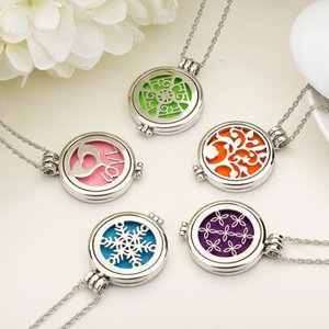 Stainless steel Essential Oil Diffuser Necklaces Glow in the Dark Aromatherapy Locket pendant Silver chain For women Gift 2021