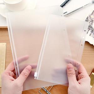 A5 / A6 / A7 Transparente Binder PVC Zipper saco de armazenamento 6 buracos impermeáveis papelaria Cartão de Contas Bags Serviço de Viagens Portable Document Sack FWF2555