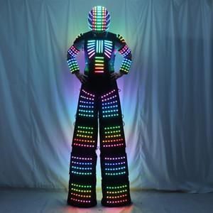 Full Color Pixel Stilts Walker LED Suit LED Robot Costume Clothes Stage Dance Costume Tron RGB Light Up Stage Suit Outfit Jacket Coat