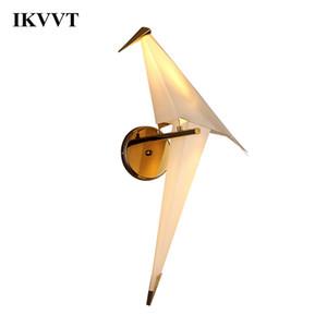 IKVVT LED Bird Design Настенный светильник ночник Творческий Оригами Бумажный кран Настенный светильник для Лофт Спальня Кабинет Фойе и столовая 1022