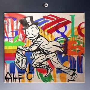 Framed &Unframed High Quality Hand Painted Wall Decor Alec DJ monopoly Pop Art Oil Painting On Canvas Multi Size Free Shipping TY057