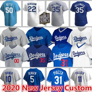 Trikots Dodgers Los Angeles 50 Mookie Betts Baseball 22 Clayton Kershaw Gewohnheit 35 Cody Bellinger 31 Joc Pederson 5 Seager 68 Ross Striplings