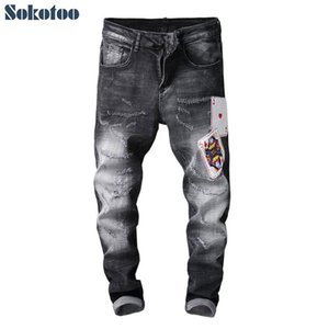 Sokotoo Men's poker patches black ripped jeans Fashion embroidery stretch denim slim skinny pants