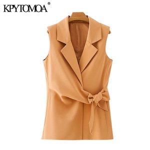 KPYTOMOA Mulheres 2020 Moda Escritório Com Belt usar casaco wrap Vest entalhado Vintage Collar Tops mangas Feminino Colete Chic