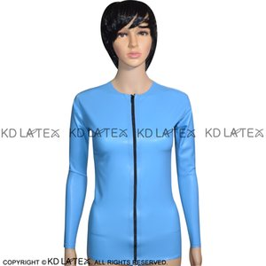 Lake Blue Sexy Latex Jacket With Zip At Front Round Collar Long Sleeves Rubber Coat Top 0080