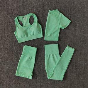Wareball 4 stücke Yoga Set Frauen Sportwear Gym Kleidung Fitness Langarm Crop Top Hohe Taille Leggings Sportanzüge C0121