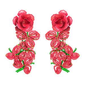 Regalos del pendiente Dangles nueva marca con los pendientes de gota personalidad de la joyería profunda flor rosa perlas borla gran declaración partido de la moda de las mujeres
