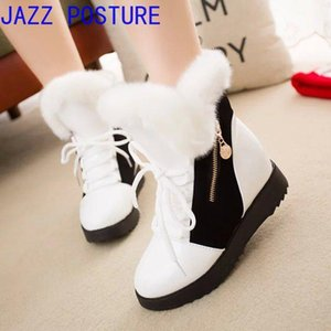Snow boots 2020 women's boots color matching round head plus velvet cotton female students non-slip female short q61