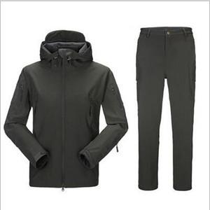 Ao Ar Livre engrenagem tática Jacket + calças TAD Homens impermeáveis à prova de vento Conjuntos Brasão Hunting Exército Camuflagem Camo preto