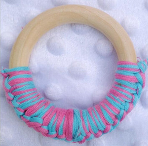Wooden Teether Ring Handmade Crochet Rings Wood Circles Teething Traning Toys Nurse Gifts Baby Teether Baby Care Tool OWB2579