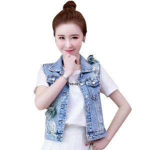 Spring New Women Basic Denim Vest Coat Fashion 3D Flower Embroidery Sleeveless Jeans Vest Jacket Tops Short Cowboy Waistcoat 230
