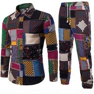 Mens Vacation Set Linen Long Pant Ethnic Style Patchwork Male Suit Festival Wear Plus Size 5XL Europe Slim Shirt 2018 Autumn New