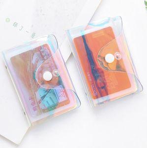 Transparent Laser PVC Credit Card Holder Women Card Case Organizer Wallet Fashion Clear Passport Cards Storage Bags LX1429