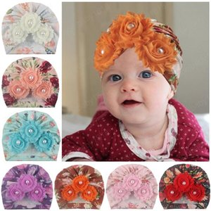 INS Newborn Baby Beanie Caps Shabby Flower Hedging Caps Infant Girls India Hats Boy Autumn Winter