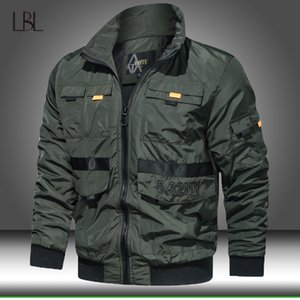 Tactical Bomber Green Jackets Mens Autumn Multi Pocket Military Jacket Coat Men Air Force Polit Overcoats Slim Fit Baseball Coat