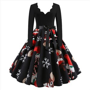 40 Big Swing Sexy Dress Long Sleeve Christmas Musical Notes Print Vintage Flare Dress Festival Robe Plus Size A line