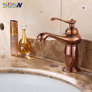 Rosa de Ouro torneira Banheiro SDSN Multi-camada de revestimento de latão Bacia Torneiras Qualidade Copper Rose Bacia ouro Tap Hot Cold Water Faucet