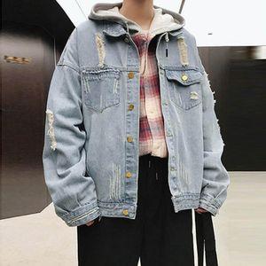 رجالي التصحيح الدنيم سترة الذكور ممزق زائد الأسمدة فضفاضة المراهقين الدهون اليابانية الخريف الشتاء معطف الشارع وسيم