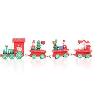 14 Color Design Cadeau Enfants Wooden Train de Noël Joyeux Noël Décoration pour la maison Petit Train populaire Décor Ornements de Noël GGE1927