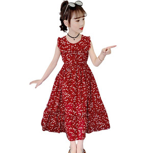 Girls Summer Dress Floral Print Beach Dress For Girls Sleeveless O Neck Kids Teenage Clothes 6 8 10 12 14