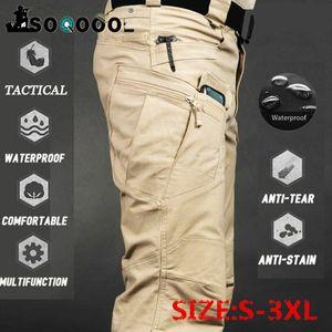 Soqoool Männer Tarnung Overalls Elastic Verschleißfeste Multi-Tasche Military Tactical Hose Outdoor-Jogging Plus Size Pants 201110