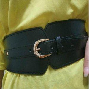 Ladies Cinto largo de luxo da moda selvagem Pin Mulheres cintura Seal Buckle Elastic Vintage Black Leather Brown amarelo encaixa 70cm - 100cm
