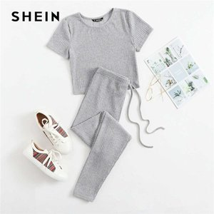 SHEIN Rib-knit Tee and Tie Waist Leggings Set Women Solid Slim Fit 2 Piece Set Autumn Skinny Casual Two Piece Sets 201008